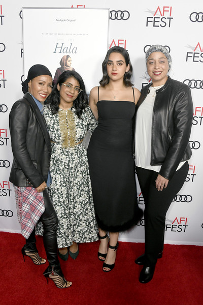 AFI FEST 2019 Presented By Audi – Screening Of 'Hala' [carpet,red carpet,event,fashion,premiere,dress,flooring,little black dress,fashion design,fashion accessory,hala,jana babatunde-bey,geraldine viswanathan,jada pinkett smith,minhal baig,l-r,audi,afi fest,screening,screening]
