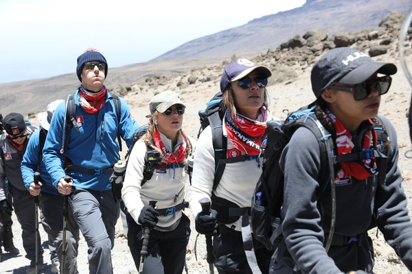 'Kilimanjaro: The Return' For Red Nose Day [kilimanjaro: the return for red nose day,images,backpacking,adventure,recreation,mountaineering,hiking,travel,tourism,mountain,mountain guide,dani dyer,dan walker,jade thirlwall,editorial use,charge,funds,l-r,world]