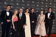 (L-R) Milosh Bikovich, Sarah Gadon, David Cronenberg, Felicitas Rombold, Daniel Bruhl, Dakota Fanning and Henry Cavill arrive for the Jaeger-LeCoultre Gala Dinner during the 75th Venice International Film Festival at Arsenale on September 4, 2018 in Venice, Italy.