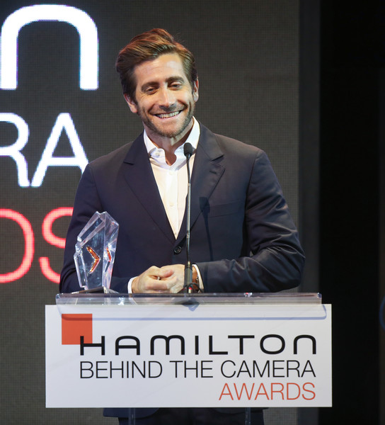 Hamilton Behind The Camera Awards - Inside [spokesperson,speech,chin,forehead,suit,public speaking,white-collar worker,event,formal wear,job,jake gyllenhaal,hamilton behind the camera awards,hamilton behind the camera awards,los angeles,california,los angeles confidential magazine]