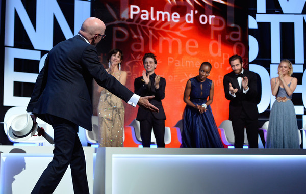 Closing Ceremony - The 68th Annual Cannes Film Festival [event,fashion,performance,television program,media,formal wear,premiere,performing arts,company,brand,dheepan,cannes film festival,jacques audiard,jury members,l-r,sophie marceau,sienna miller,jake gyllenhaal,xavier dolan,rokia traore]