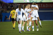 Tobin Heath #17 of the United States celebrates after scoring a goal against Jamaica during the first half of the CONCACAF Women's Championship semi-finals on October 14, 2018 in Frisco, Texas.