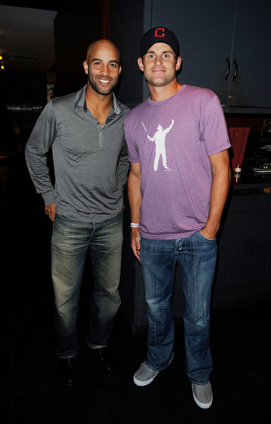 James Blake Foundation Annual Charity Event [cool,fashion,t-shirt,fun,event,muscle,textile,performance,night,photography,tennis players,james blake,andy roddick,l-r,us,new york city,las chicas locas,james blake foundation annual charity event]
