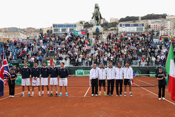 James Ward Colin Fleming Italy v Great Britain - Davis Cup World Group Quarter-Finals: Day Two