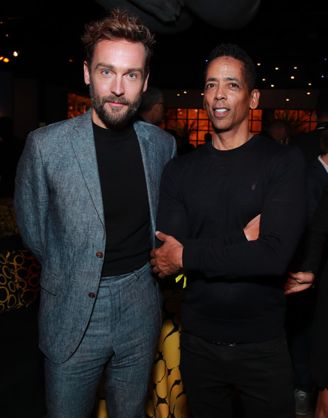 "Premiere Of HBO's ""Watchmen"" - After Party [watchmen,suit,event,fashion,facial hair,formal wear,fun,muscle,outerwear,nightclub,blazer,stephen williams,tom mison,california,hbo,party,l,premiere,party,premiere]"