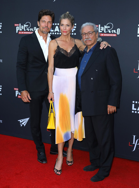 2019 Los Angeles Latino International Film Festival - Premiere Of 'The Infiltrators' - Arrivals [carpet,red carpet,premiere,event,suit,dress,flooring,fashion,formal wear,tuxedo,the infiltrators,actors,tricia helfer,edward james olmos,jamie bamber,tcl chinese theatre,california,l-r,opening night premiere,los angeles latino international film festival]
