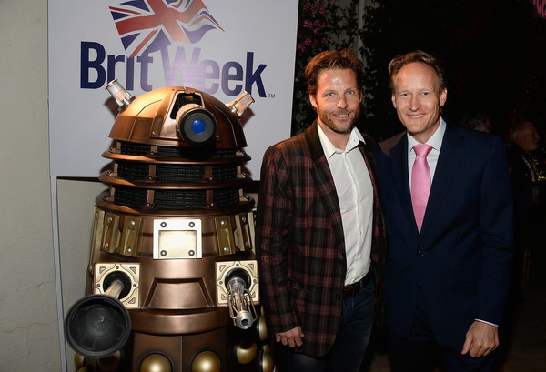 9th Annual BritWeek Red Carpet Launch - Inside [r2-d2,technology,theatrical property,costume,fictional character,robot,machine,animation,games,jamie bamber,consul general,chris oconnor,los angeles,british,residence,britweek red carpet,l,launch,launch party]