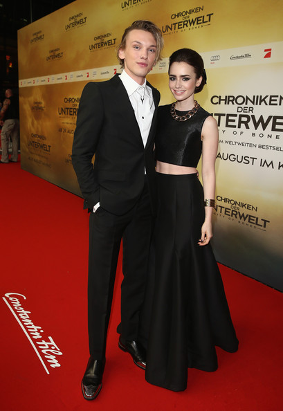Jamie Campbell Bower Jamie Campbell Bower and Lily Collins arrives for the 'The Mortal Instruments: City of Bones' (Chroniken der Unterwelt) Germany premiere at Sony Centre on August 20, 2013 in Berlin, Germany.