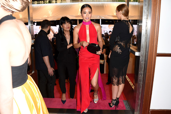 2016 CFDA Fashion Awards - Inside [fashion,pink,event,dress,fashion design,fun,red carpet,room,flooring,haute couture,hammerstein ballroom,new york city,cfda fashion awards,jamie chung]