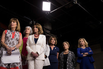 Jan Schakowsky Democratic House Leader Nancy Pelosi and House Democrats Hold News Conference on President's Controversial Tweets at MSNBC's TV Anchors