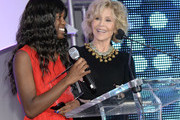 ATLANTA OCTOBER 04: Jane Fonda - GCAPP Founder Board Chair Emeritus presents Dare to Empower Award to Natasha Ellis during The 2018 Georgia Campaign For Adolescent Power & Potential (GCAPP) EmPower Party - Hosted by Jane Fonda on October 4, 2018 at The Fairmont in Atlanta, Georgia.
