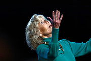 Jane Fonda gestures as she attends the Jane Fonda's Masterclass At 10th Film Festival Lumiere on October 19, 2018 in Lyon, France.