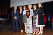 Jane Fonda (4th L) poses with The Prix Lumiere 2018 next to (L-R) Costa Gavras, Anne Consigny, Suzanne Clement, Anais Demoustier and Dominique Blanc during the Prix Lumiere 2018 At 10th Film Festival Lumiere on October 19, 2018 in Lyon, France.