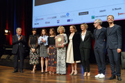 Jane Fonda (C) poses with The Prix Lumiere 2018 next to (L-R) Costa Gavras, Nolwenn Leroy, Suzanne Clement, Anais Demoustier, Dominique Blanc, Anne Consigny, Vincent Delerm, guest during the Prix Lumiere 2018 At 10th Film Festival Lumiere on October 19, 2018 in Lyon, France.