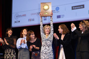 Jane Fonda (4th L) poses with The Prix Lumiere 2018 next to (L-R) Nolwenn Leroy, Suzanne Clement, Anais Demoustier, Dominique Blanc, Anne Consigny during the Prix Lumiere 2018 At 10th Film Festival Lumiere on October 19, 2018 in Lyon, France.