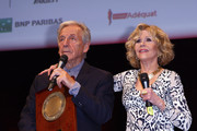 Jane Fonda (R) receives The Prix Lumiere 2018 from Costa Gavras (L) during the Prix Lumiere 2018 At 10th Film Festival Lumiere on October 19, 2018 in Lyon, France.