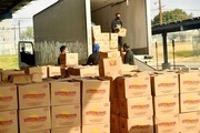 Boxes are unloaded during #Wondalunch Food Giveaway hosted by Janelle Monae, Wondaland, Jidenna, Congresswoman Maxine Waters and Yara Shahidi at Los Angeles Southwest College on December 12, 2020 in Los Angeles, California.