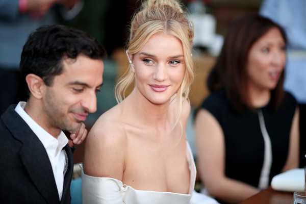 The Business of Fashion Presents the Inaugural BoF West Summit in Los Angeles [beauty,hairstyle,event,dress,fashion,ceremony,formal wear,fun,smile,photography,rosie huntington-whiteley,imran amed,janice min,l-r,westfield century city,los angeles,california,business of fashion presents,bof west summit]