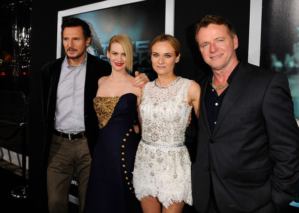 "January Jones (L-R) Actors Liam Neeson, January Jones, Diane Kruger and Aidan Quinn arrive at Warner Bros. Los Angeles Premiere of ""Unknown"" held at Regency Village Theatre on February 16, 2011 in Westwood, California."