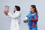 Japanese Chef de Mission Seiko Hashimoto and Yelena Isinbayeva, mayor of the Olympic Village exchange gifts during a welcome ceremony for the Japanese delegation prior to the Sochi 2014 Winter Olympics, at the Coastal Olympic Village on February 2, 2014 in Sochi, Russia.
