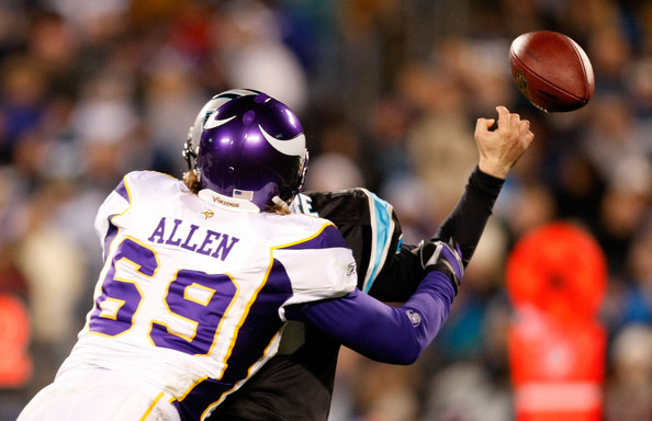 Matt Moore and Jared Allen - Minnesota Vikings v Carolina Panthers