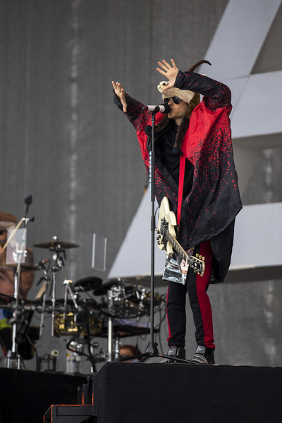 Thirty Seconds to Mars Perform at the Top of the Mountain Concert [the top of the mountain concert,performance,entertainment,music,performing arts,musician,stage,event,drums,singing,public event,jared leto,stage,mars,ischgl,austria,top of the mountain,thirty seconds to mars,band,concert]