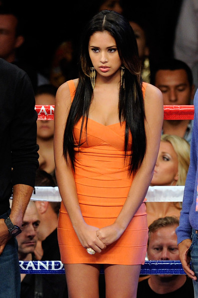 Jasmine Villegas Singer Jasmine Villegas stands in the ring before singing the United States National Anthem before the fight between Floyd Mayweather Jr. and Victor Ortiz for the WBC welterweight title at the MGM Grand Garden Arena on September 17, 2011 in Las Vegas, Nevada.