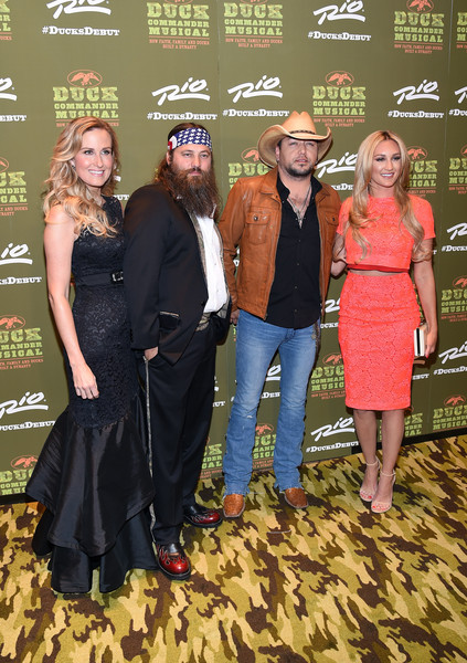 'Duck Commander Musical' Premiere at the Rio in Las Vegas [duck commander musical premiere,duck dynasty,event,fashion,premiere,little black dress,dress,flooring,carpet,fashion design,style,korie robertson,jason aldean,willie robertson,brittany kerr,television personalities,l-r,the rio in las vegas,premiere]