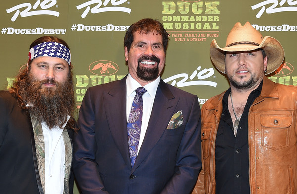 'Duck Commander Musical' Premiere at the Rio in Las Vegas [duck commander musical premiere,duck dynasty,duck commander musical,facial hair,beard,moustache,headgear,event,willie robertson,jason aldean,co-owner,family,l-r,the rio in las vegas,premiere]