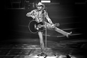 """Image has been converted to black and white.) Recording artist Jason Aldean performs during the launch of his three-night """"JASON ALDEAN: RIDE ALL NIGHT VEGAS"""" engagement at Park Theater at Park MGM on December 6, 2019 in Las Vegas, Nevada."""