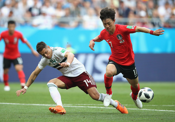 Korea Republic vs. Mexico: Group F - 2018 FIFA World Cup Russia [player,sports,soccer player,sports equipment,football player,team sport,ball game,sport venue,football,soccer,lee jaesung,javier hernandez,action,russia,mexico,korea republic,rostov-on-don,group,korea republic vs. mexico: group f - 2018 fifa world cup,match]