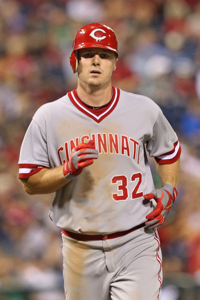 Jay Bruce Jay Bruce #32 of the Cincinnati Reds jogs home after hitting a home run during a game against the Philadelphia Phillies at Citizens Bank Park on August 22, 2012 in Philadelphia, Pennsylvania. The Reds won 3-2.