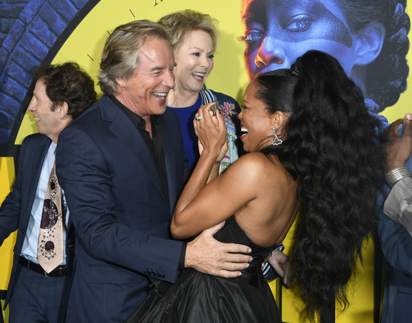 "Premiere Of HBO's ""Watchmen"" - Arrivals [event,yellow,fun,interaction,premiere,photography,smile,watchmen,arrivals,don johnson,regina king,jean smart,california,los angeles,the cinerama dome,hbo,premiere]"