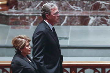 Jeb Bush Mourners, Including Former Presidents, Attend Funeral For Barbara Bush