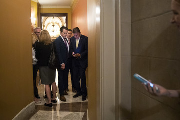 Jeff Flake Senate GOP Conference Meets After Contentious Judiciary Committee Hearing
