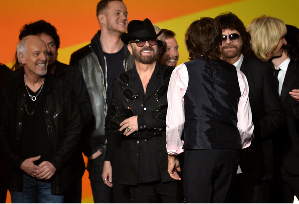 Performances at 'The Night That Changed America' [event,premiere,suit,artists,jeff lynne,paul mccartney,dave stewart,peter frampton,l-r,los angeles convention center,california,the night that changed america: a grammy salute to the beatles,show]