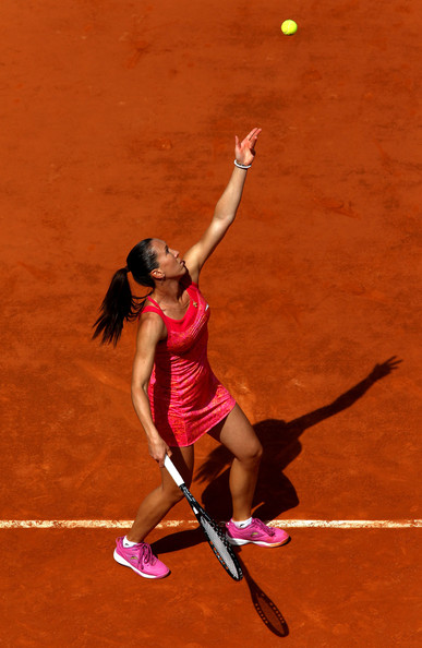 Jelena Jankovic Jelena Jankovic of Serbia serves during the women's singles round one match between Jelena Jankovic of Serbia and Alona Bondarenko of Ukraine on day one of the French Open at Roland Garros on May 22, 2011 in Paris, France.