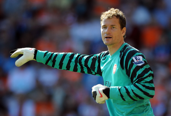 Jens Lehmann Jens Lehmann of Arsenal in action during the Barclays Premier League match between Blackpool and Arsenal at Bloomfield Road on April 10, 2011 in Blackpool, England.
