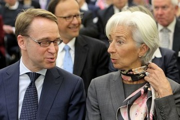 Jens Weidmann International Monetary Fund Chief Christine Lagarde Attends 'Global Outlook and Policy Priorities' Conference