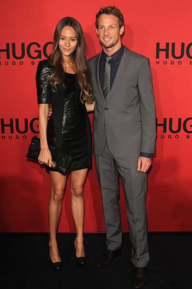 Jenson Button Jenson Button and girlfriend Jessica Michibata arrive at the Hugo by Hugo Boss Autumn/Winter 2012 fashion show during Mercedes-Benz Fashion Week Berlin at Gemaldegalerie on January 19, 2012 in Berlin, Germany.