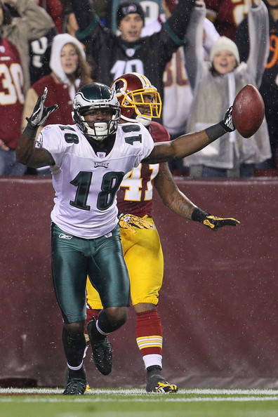 Jeremy Maclin Jeremy Maclin #18 of the Philadelphia Eagles celebrates after scoring a touchdown against the Washington Redskins on November 15, 2010 at FedExField in Landover, Maryland.