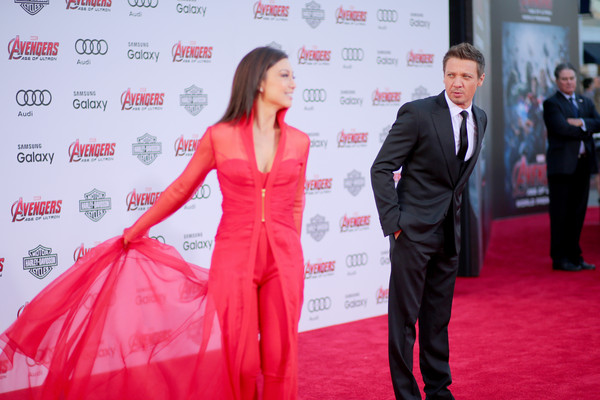 Premiere Of Marvel's 'Avengers: Age Of Ultron' - Arrivals [avengers: age of ultron,red carpet,carpet,red,premiere,flooring,pink,event,suit,formal wear,dress,ming-na wen,arrivals,jeremy renner,dolby theatre,california,hollywood,marvel,premiere]