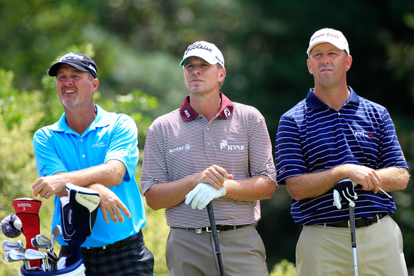 PGA Championship - Preview Day 2 [golf,golfer,fourball,competition event,recreation,golf course,foursome golf,championship,professional golfer,competition,tee,steve stricker,jerry kelly,mike small,r,c,atlanta athletic club,pga championship,start,practice round]