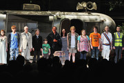 """(L-R) Cast members Aimee-Ffion Edwards, Mackenzie Crook, Alan David, Molly Ranson, Mark Page, Mark Rylance, Geraldine Hughes, Danny Kirrane, Charlotte Mills, John Gallagher, Jr., Max Baker and Harvey Robinson at a curtain call at the opening night of """"Jerusalem"""" on Broadway at The Music Box Theatre on April 21, 2011 in New York City."""