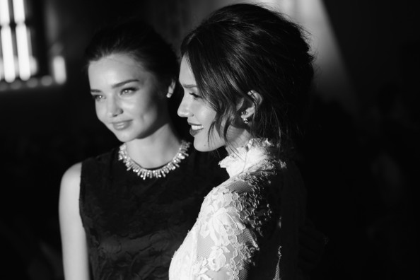 Front Row at the H&M Show [photograph,black,black-and-white,monochrome,monochrome photography,lady,snapshot,fashion,photography,dress,miranda kerr,jessica alba,front row,part,le grand palais,paris,france,h m,paris fashion week womenswear fall,show]
