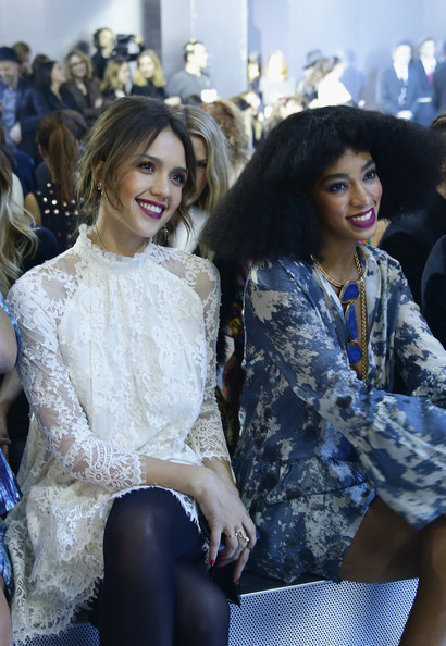 Front Row at the H&M Show [fashion,clothing,lady,beauty,fashion show,fashion design,street fashion,yellow,model,shoulder,jessica alba,solange knowles,front row,part,le grand palais,paris,france,h m,paris fashion week womenswear fall,show]