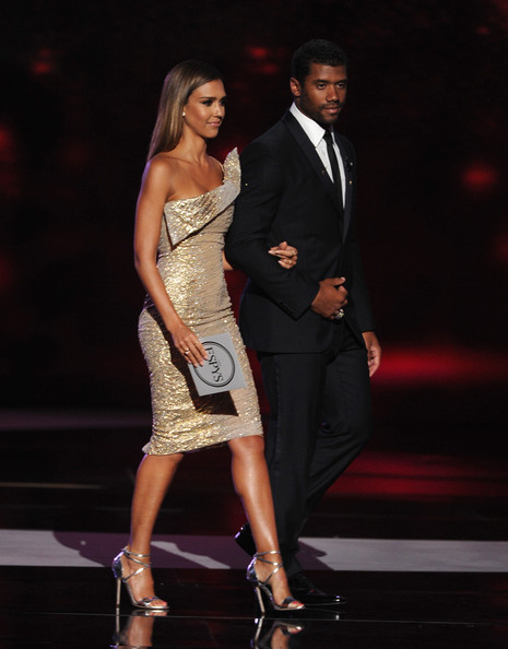 Inside the 2014 ESPYS — Part 2 [dress,clothing,fashion,fashion model,cocktail dress,leg,formal wear,event,thigh,shoulder,jessica alba,russell wilson,california,los angeles,nokia theatre l.a. live,nfl,espys - show]