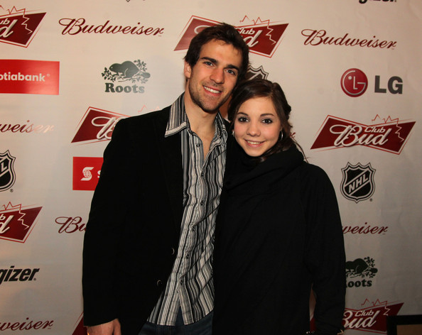 Club Bud NHL Party at the Olympics [red,fashion,event,premiere,carpet,flooring,fashion design,pairs,club bud nhl party,figure skaters,bryce davison,jessica dube,canadian,commodore ballroom,vancouver,olympics,olympic winter games]