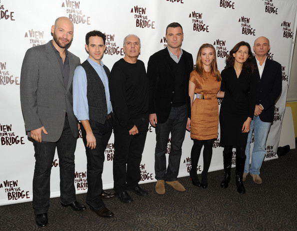 """""""A View From The Bridge"""" Cast Meet And Greet [a view from the bridge,social group,event,premiere,team,white-collar worker,corey stoll,scarlett johansson,jessica hecht,liev schreiber,santino fontana,michael cristofer,gregory mosher,etcetera etcetera restaurant,cast meet and greet]"""
