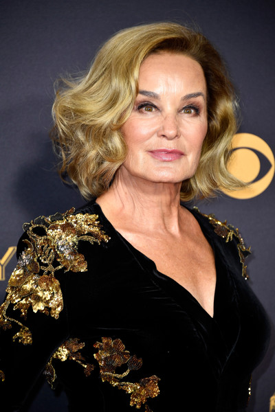 69th Annual Primetime Emmy Awards - Arrivals [hair,blond,hairstyle,lady,chin,shoulder,layered hair,long hair,dress,ringlet,arrivals,jessica lange,microsoft theater,los angeles,california,primetime emmy awards]